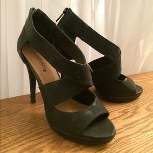 Michael Antonio black thick strappy stiletto heel